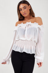 White Ruffle Edge Off Shoulder Top
