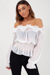 summer bardot top white uk