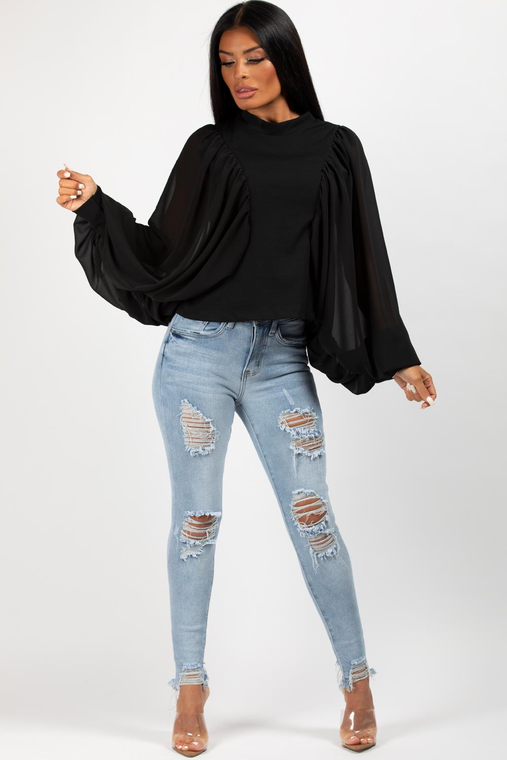 black high neck batwing top