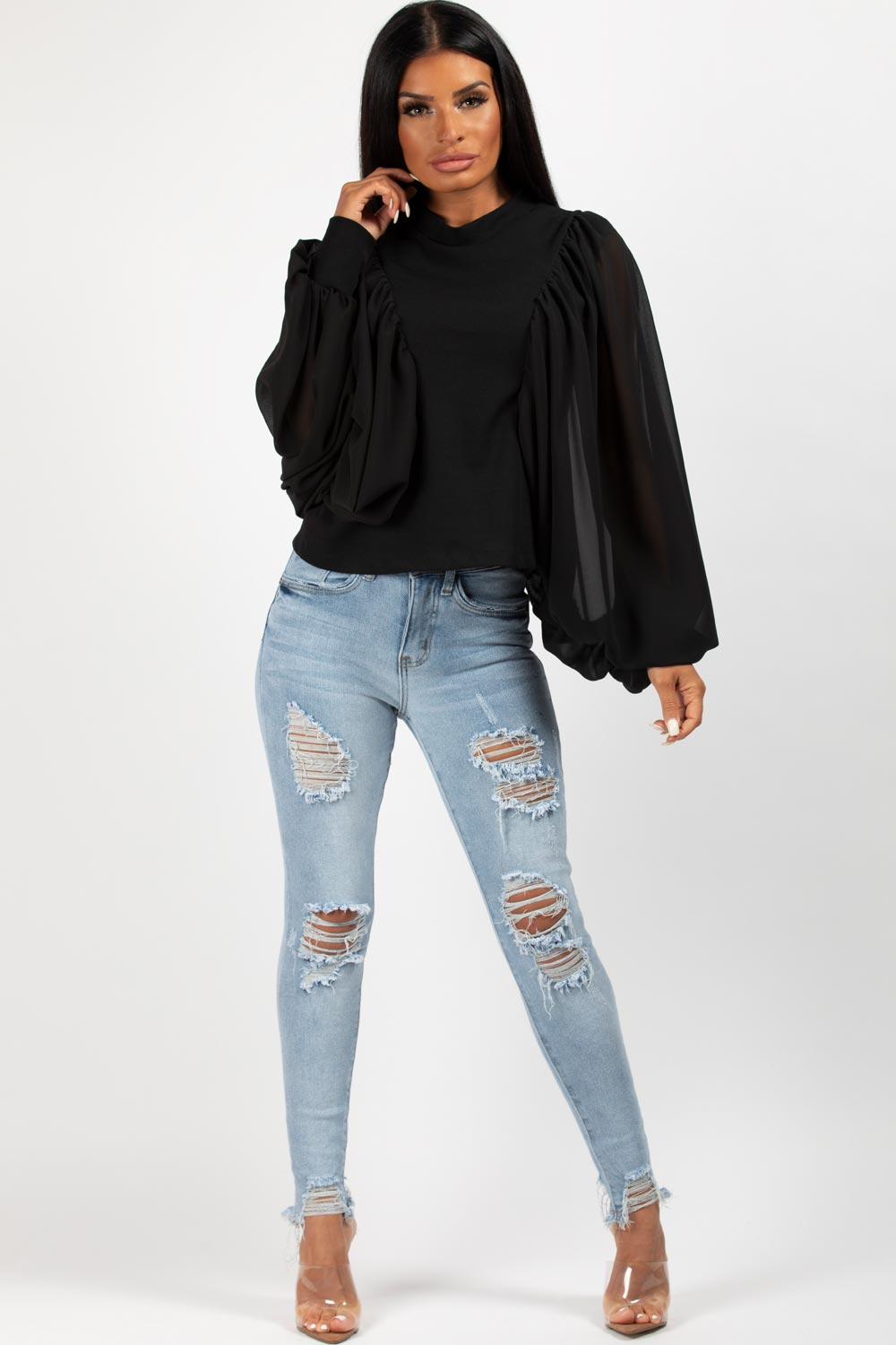 black high neck chiffon sleeve top