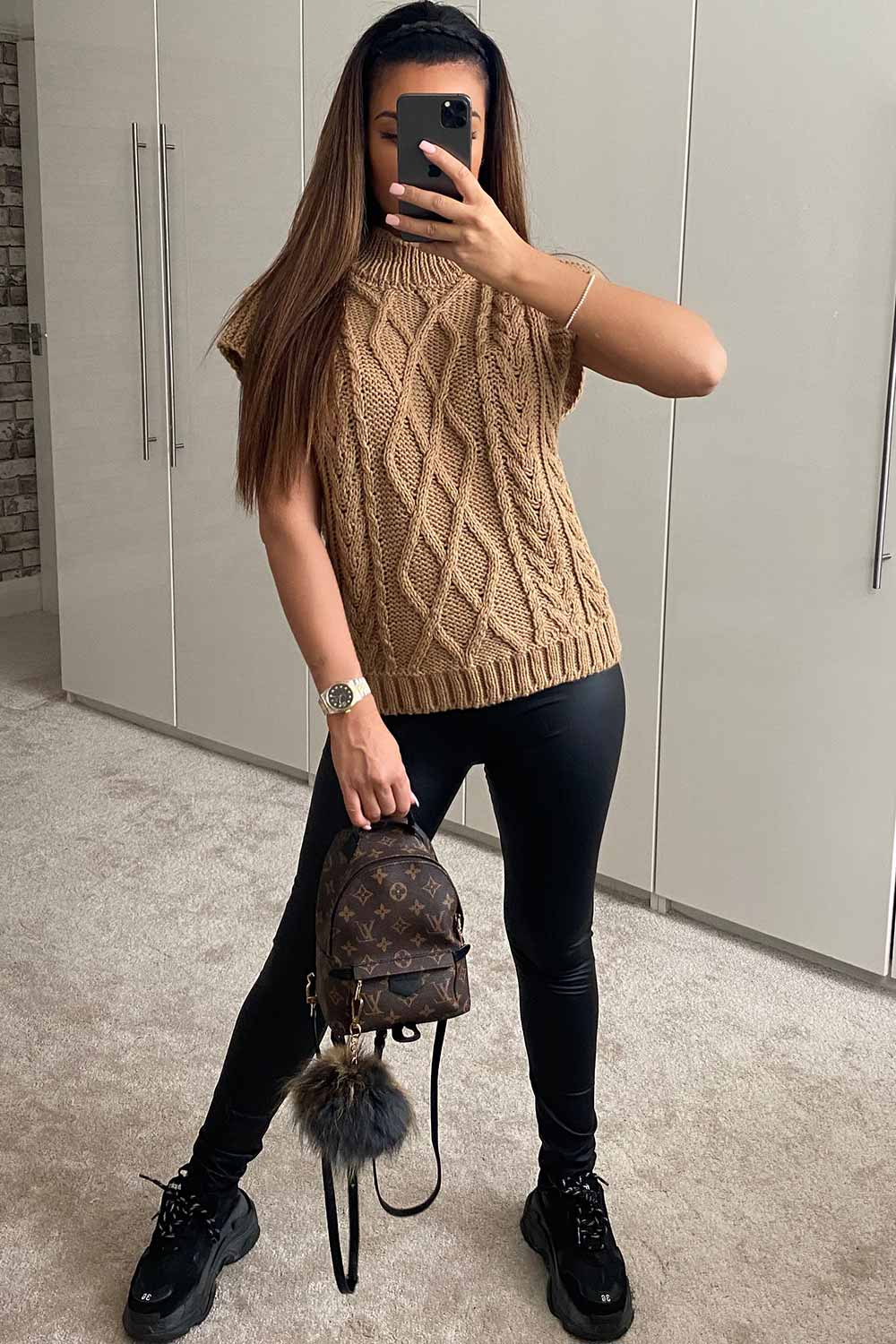 chunky cable knit sleeveless jumper styledup fashion