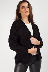 Chunky Cable Knit Cropped Cardigan Black