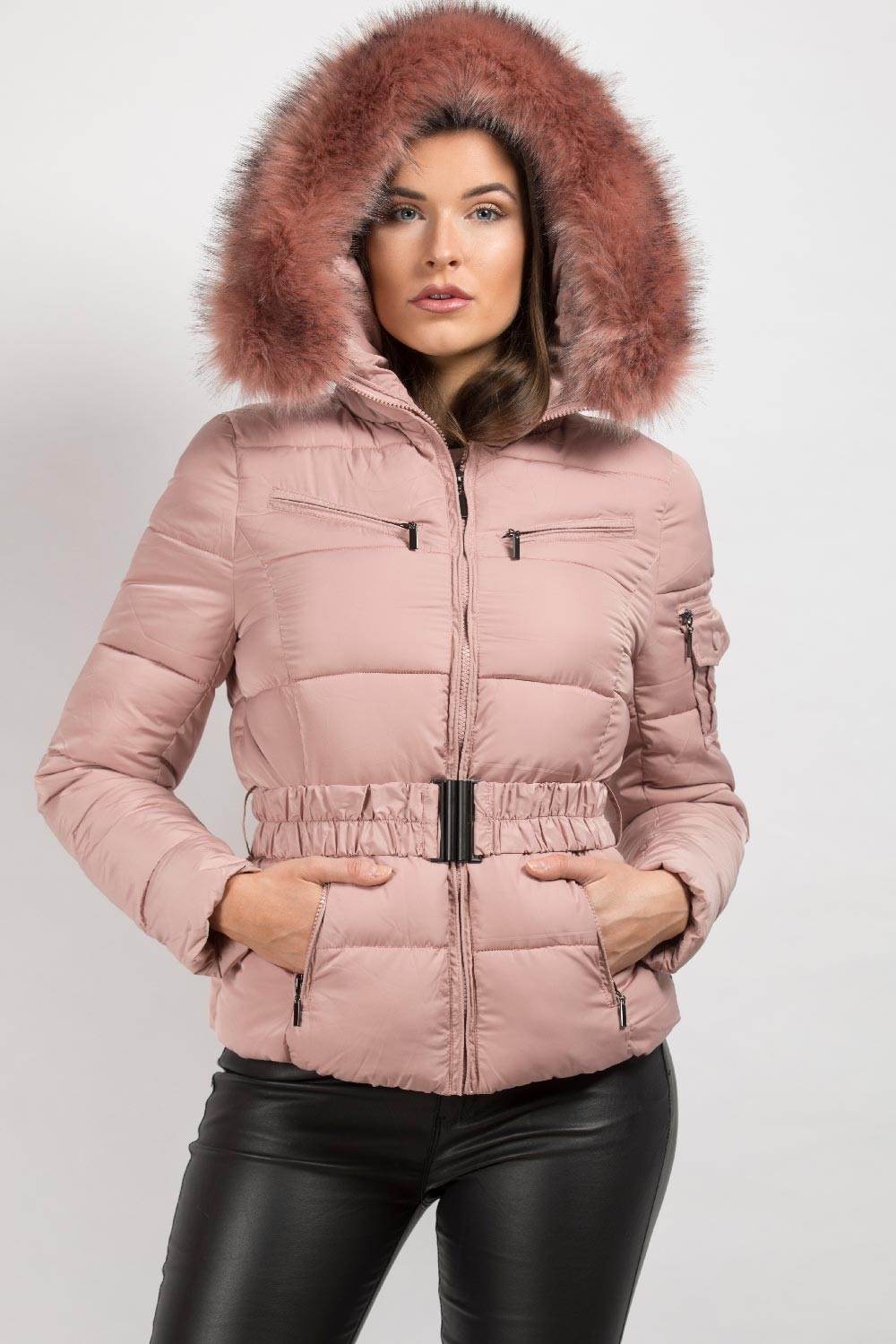 Pink Faux Fur Hooded Puffer Coat With Belt