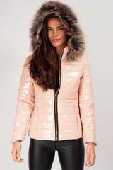 wetlook faux fur hood jacket womens
