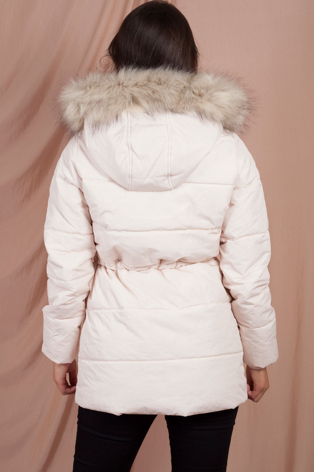 pink puffer jacket with fur hood