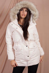 faux fur hooded puffer jacket pink