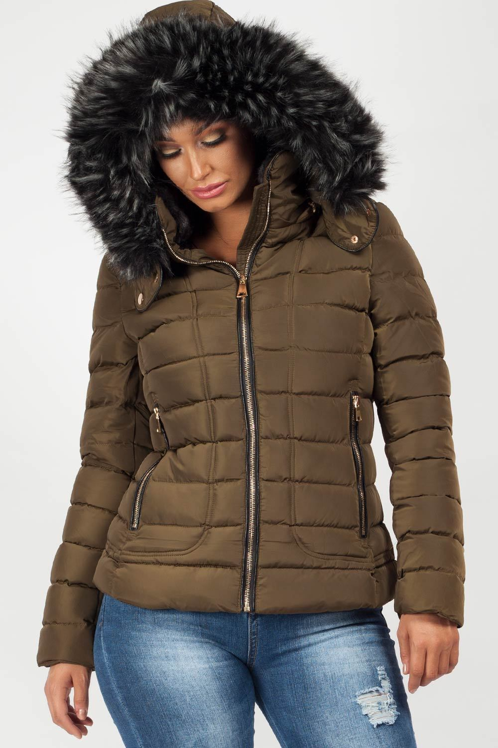 puffer jacket with fur hood khaki