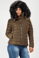 chunky faux fur hood quilted khaki coat womens