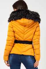 womens padded jacket with fur hood