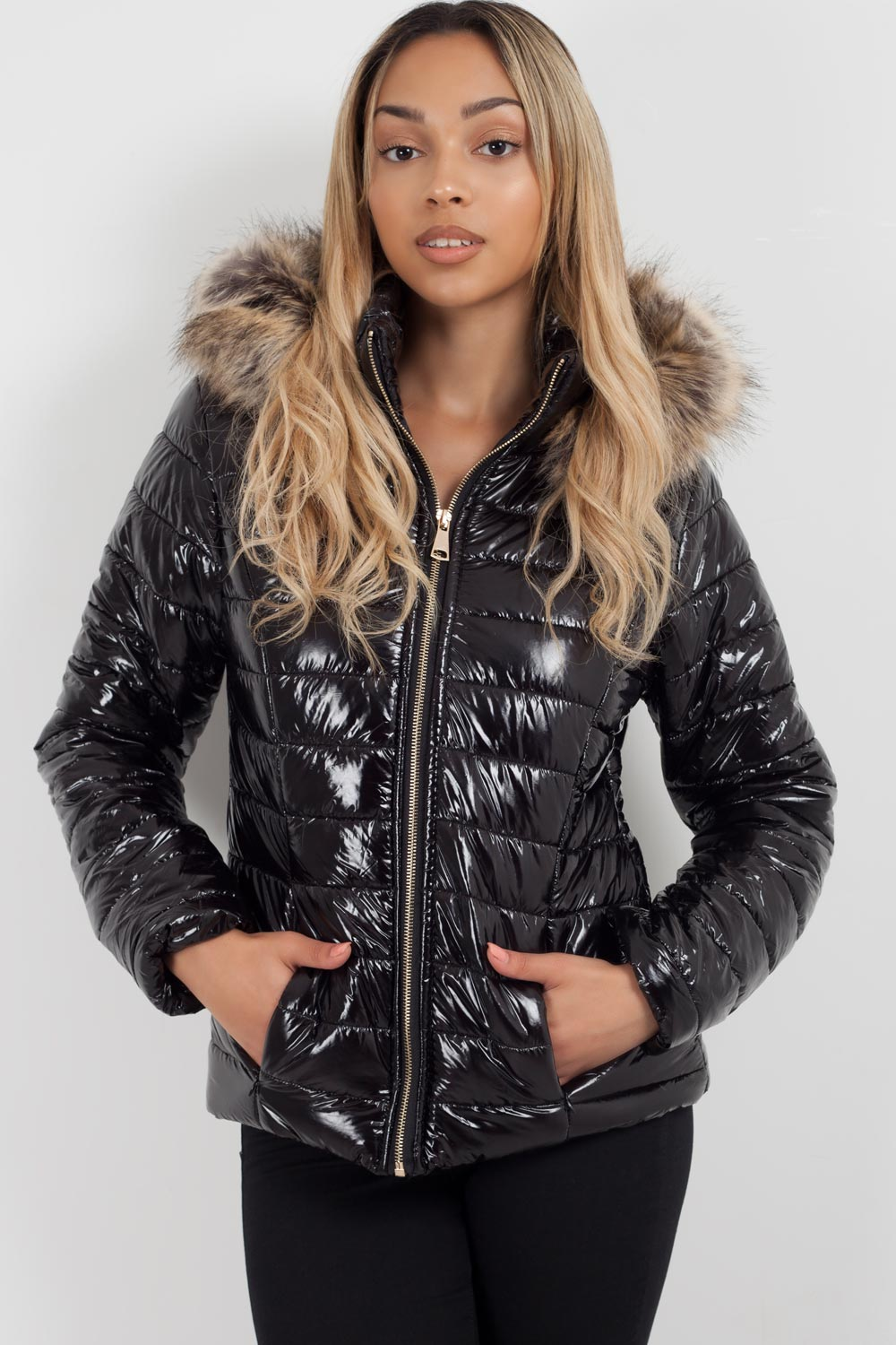 black puffer jacket with hood sale