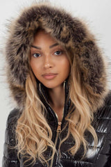 black puffer jacket with fur hood