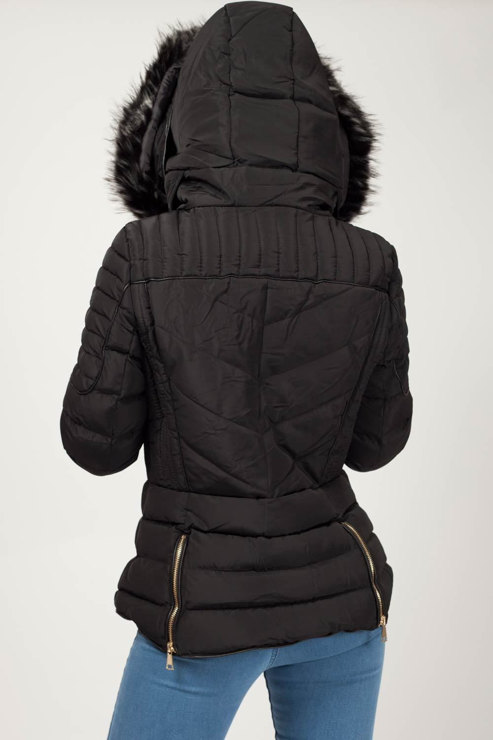 womens black puffer coat uk