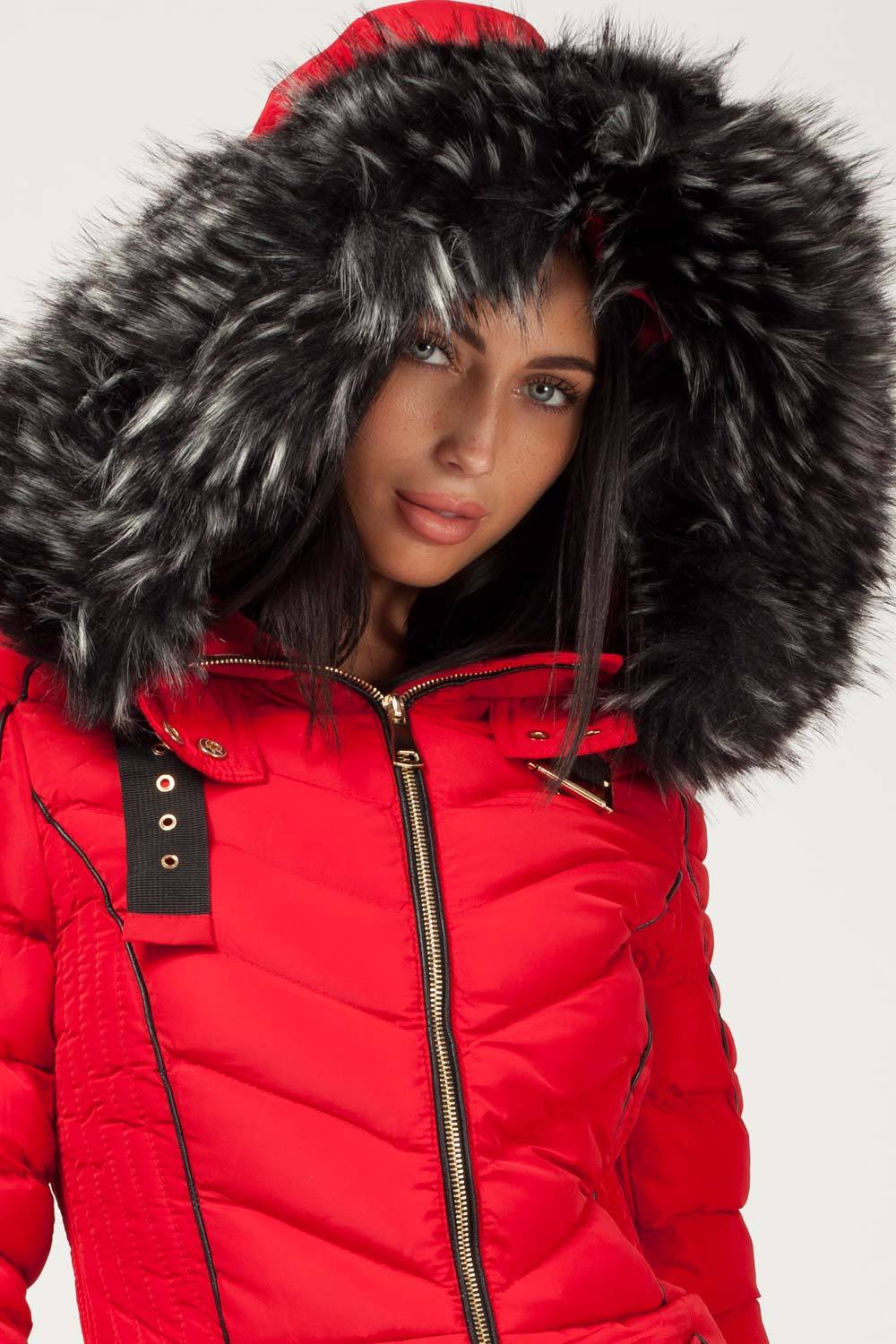 chunky fur hood puffer coat red