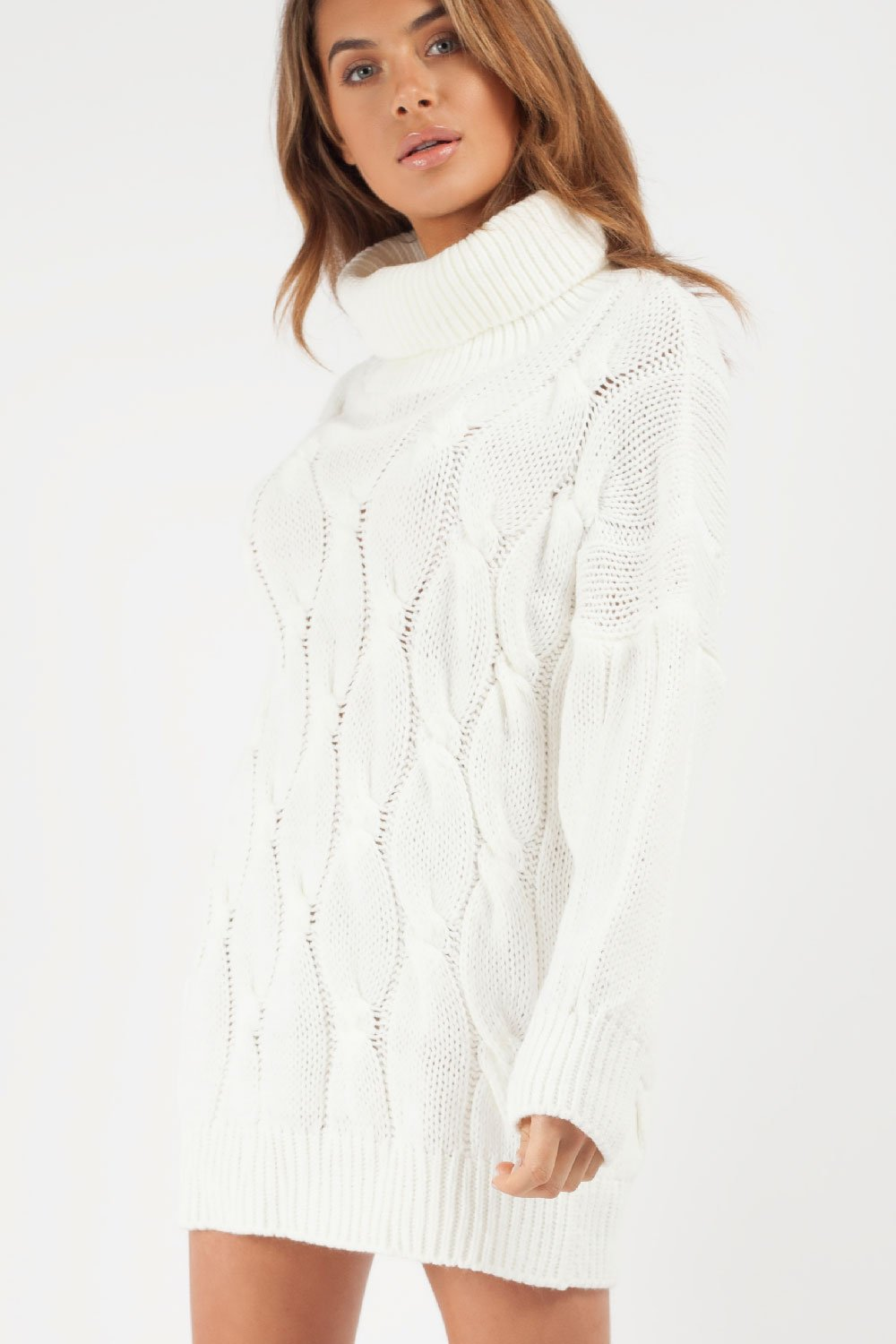 oversized cable knit jumper dress cream