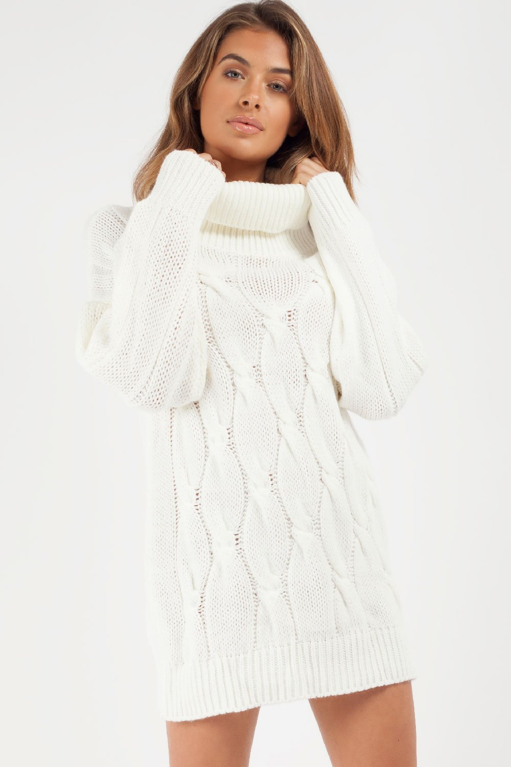 roll neck cable knit jumper cream