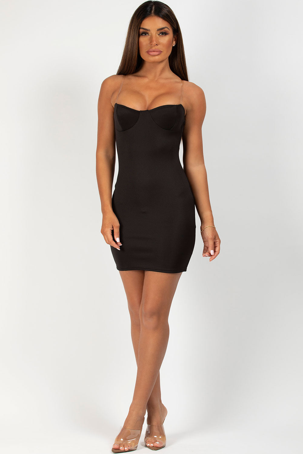 clear strap cup detail bodycon dress