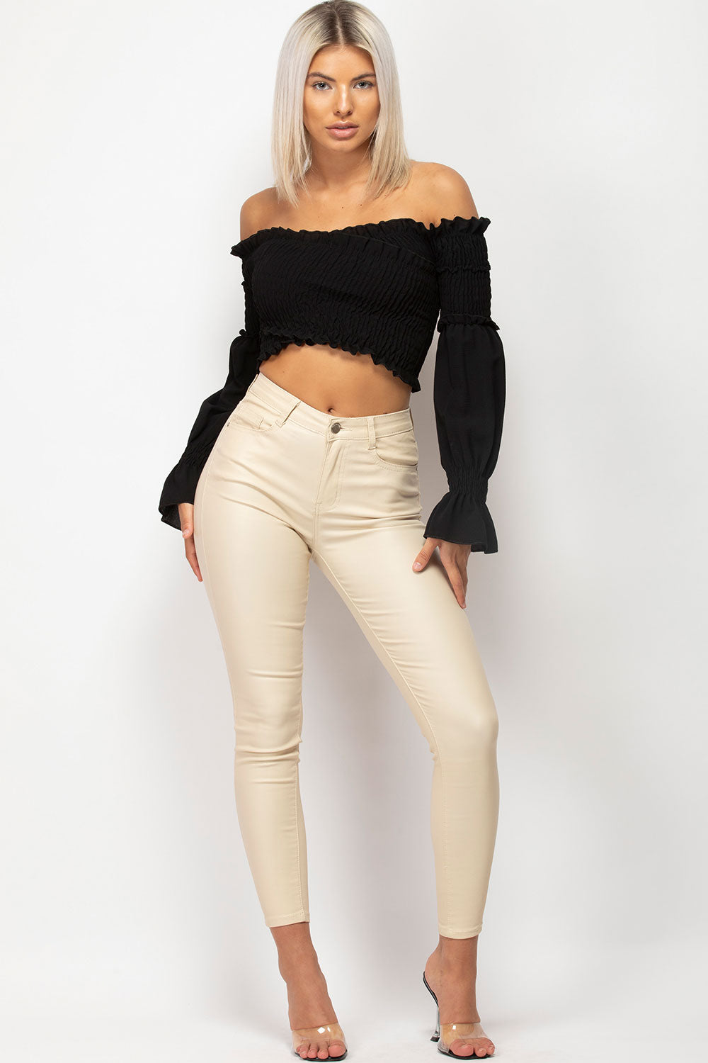 beige high waisted jeans