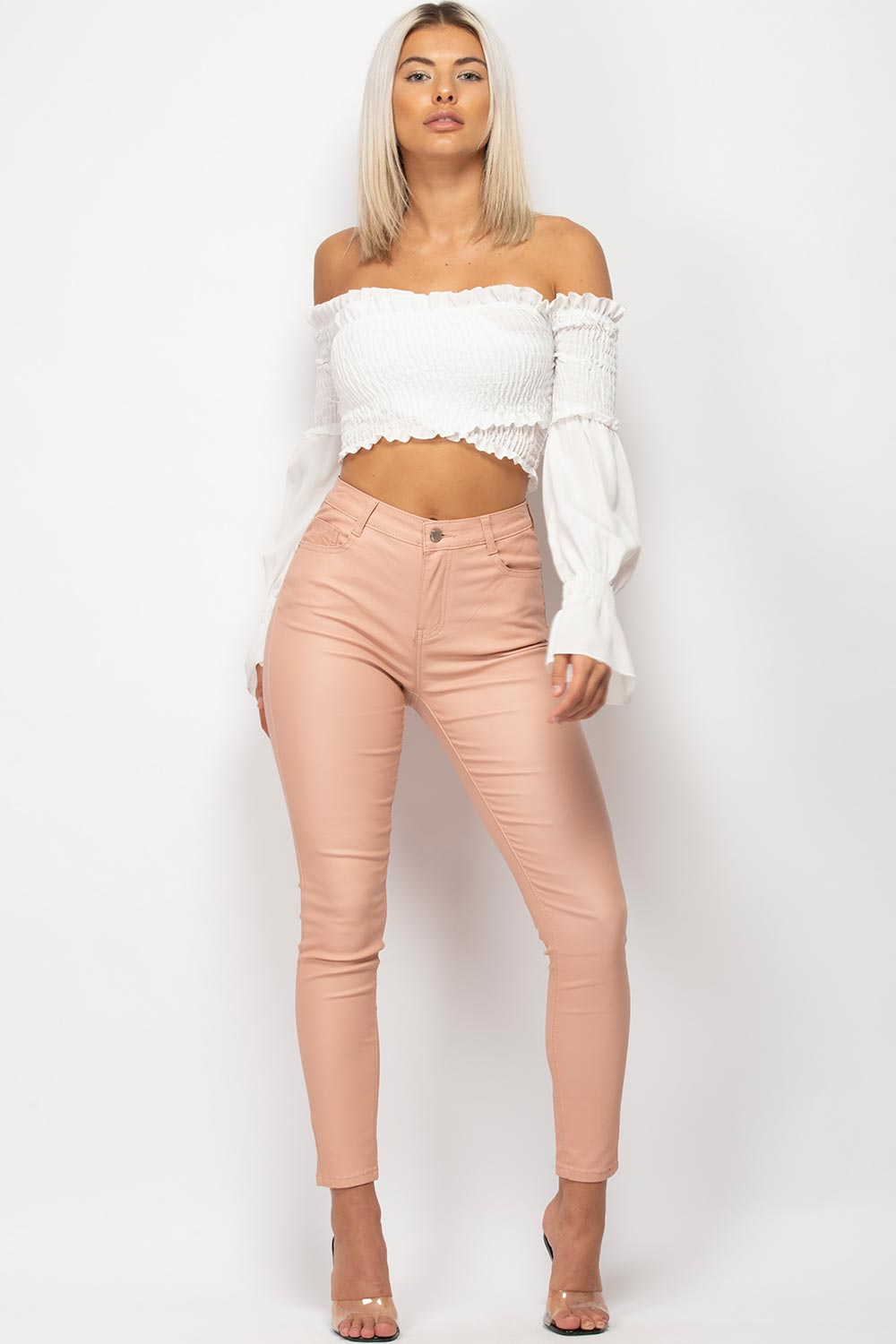pink high waisted coated jeans