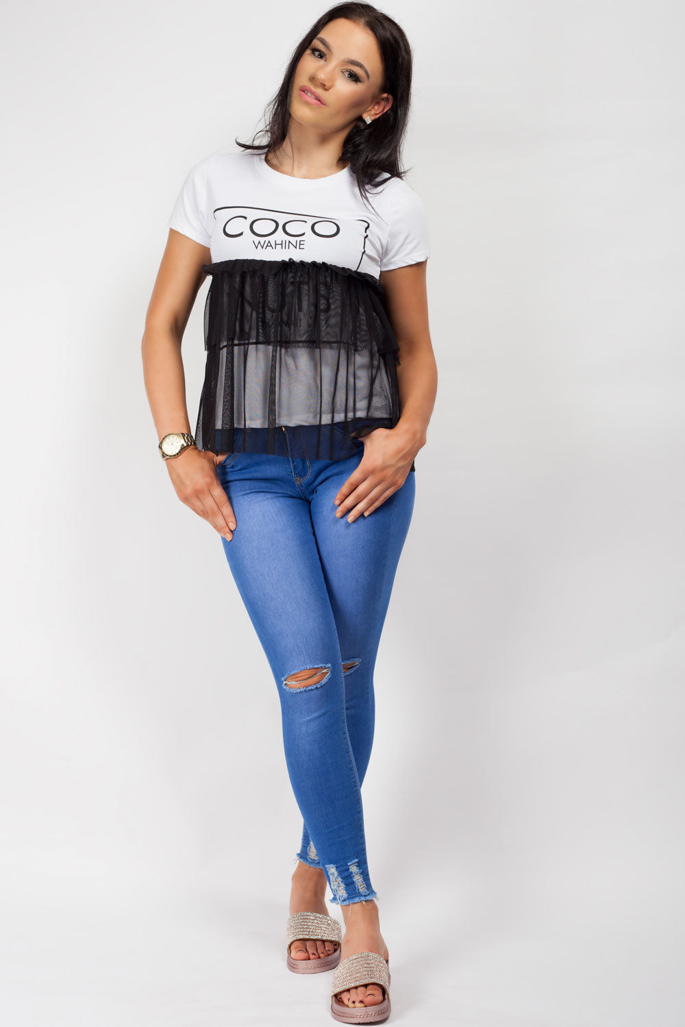 white coco slogan t shirt