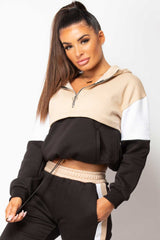 hooded drawstring waist sweatshirt