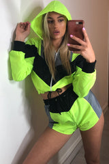 hooded shell jacket and shorts set neon green