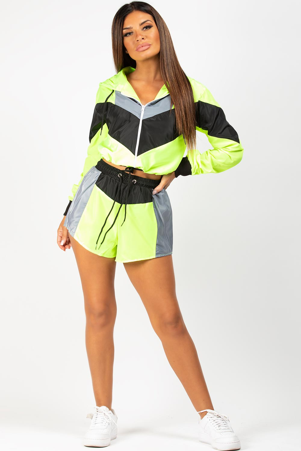 neon green shell jacket and shorts set