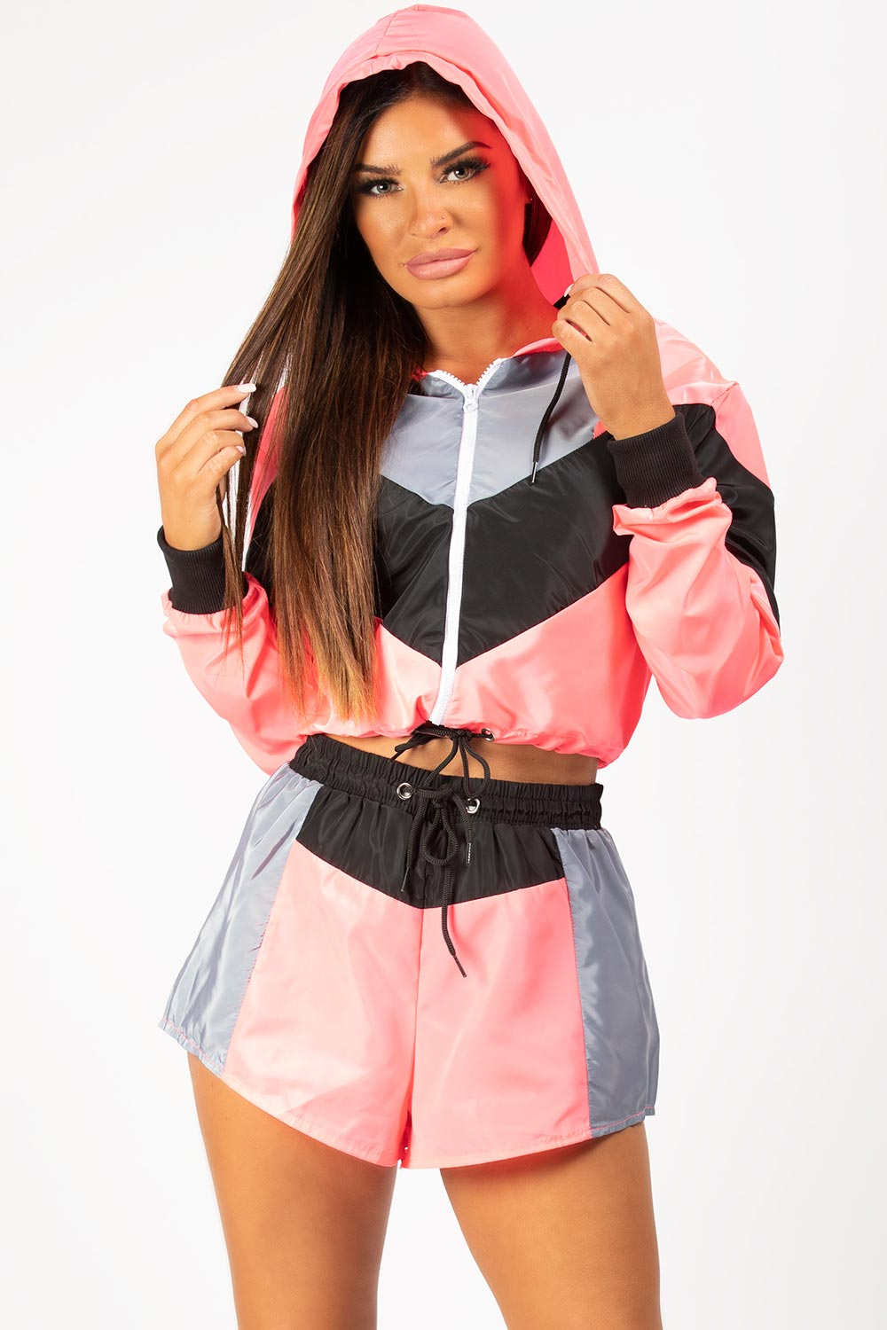 neon pink two piece set