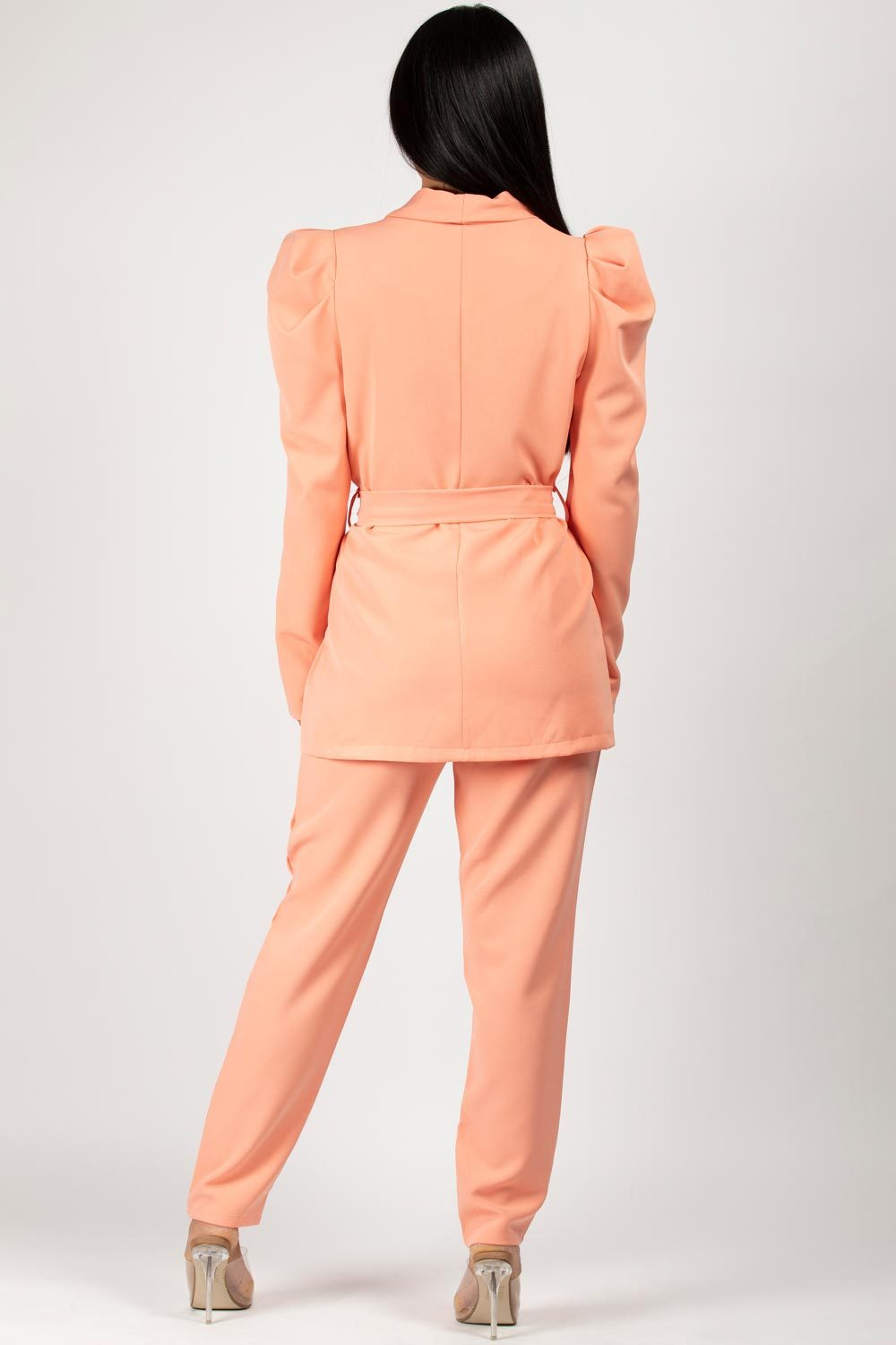 belted puff sleeve blazer and trousers set coral