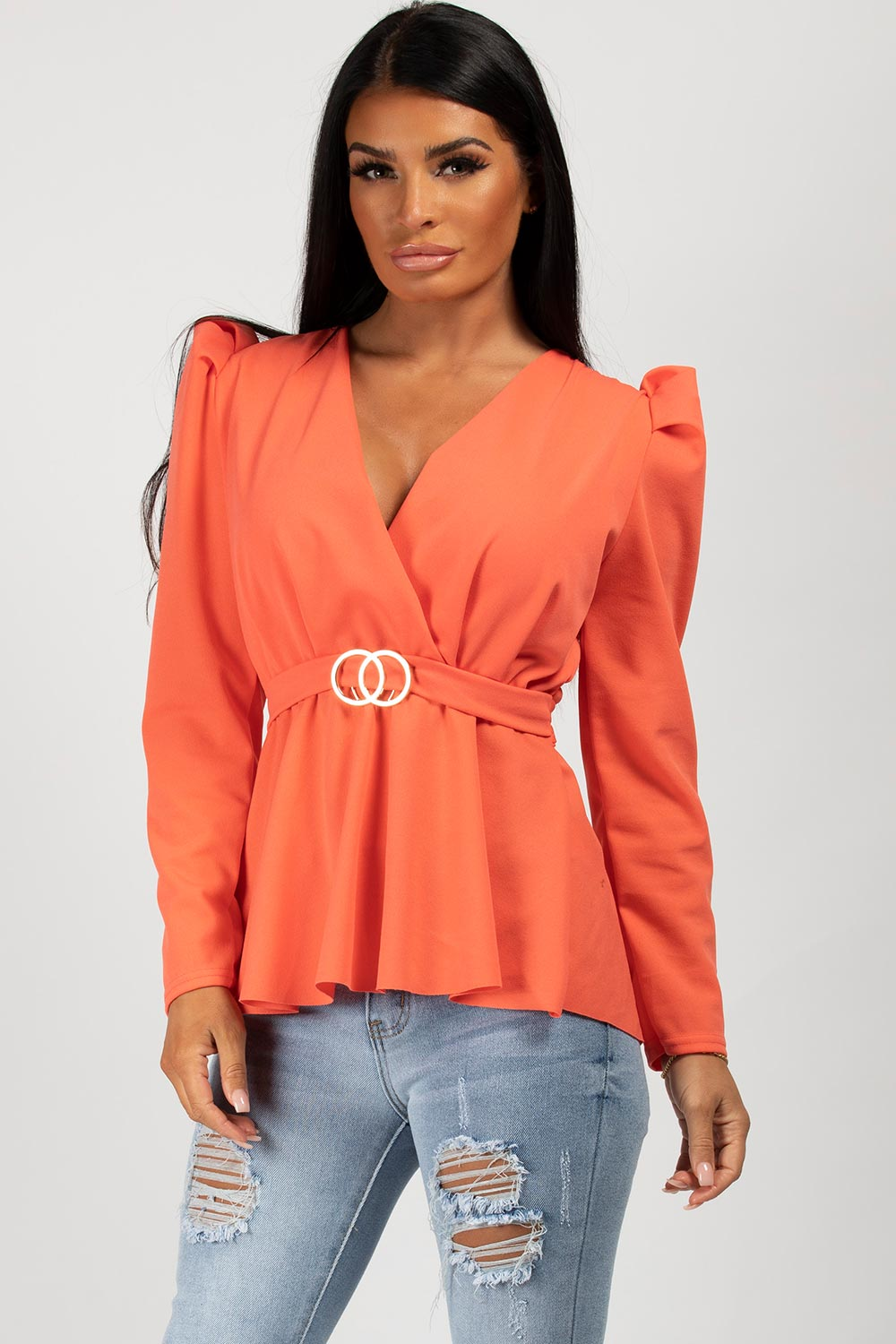 puff sleeve cc buckle top