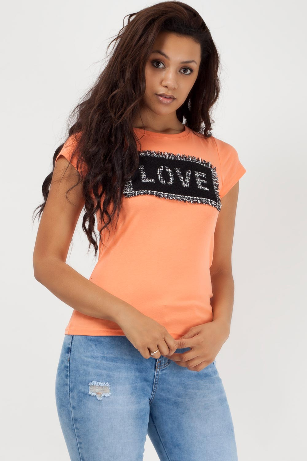 love slogan t shirt coral