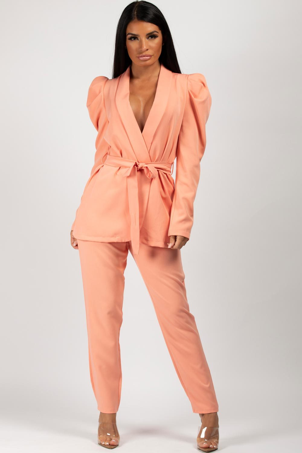 coral puff sleeve blazer and trousers set