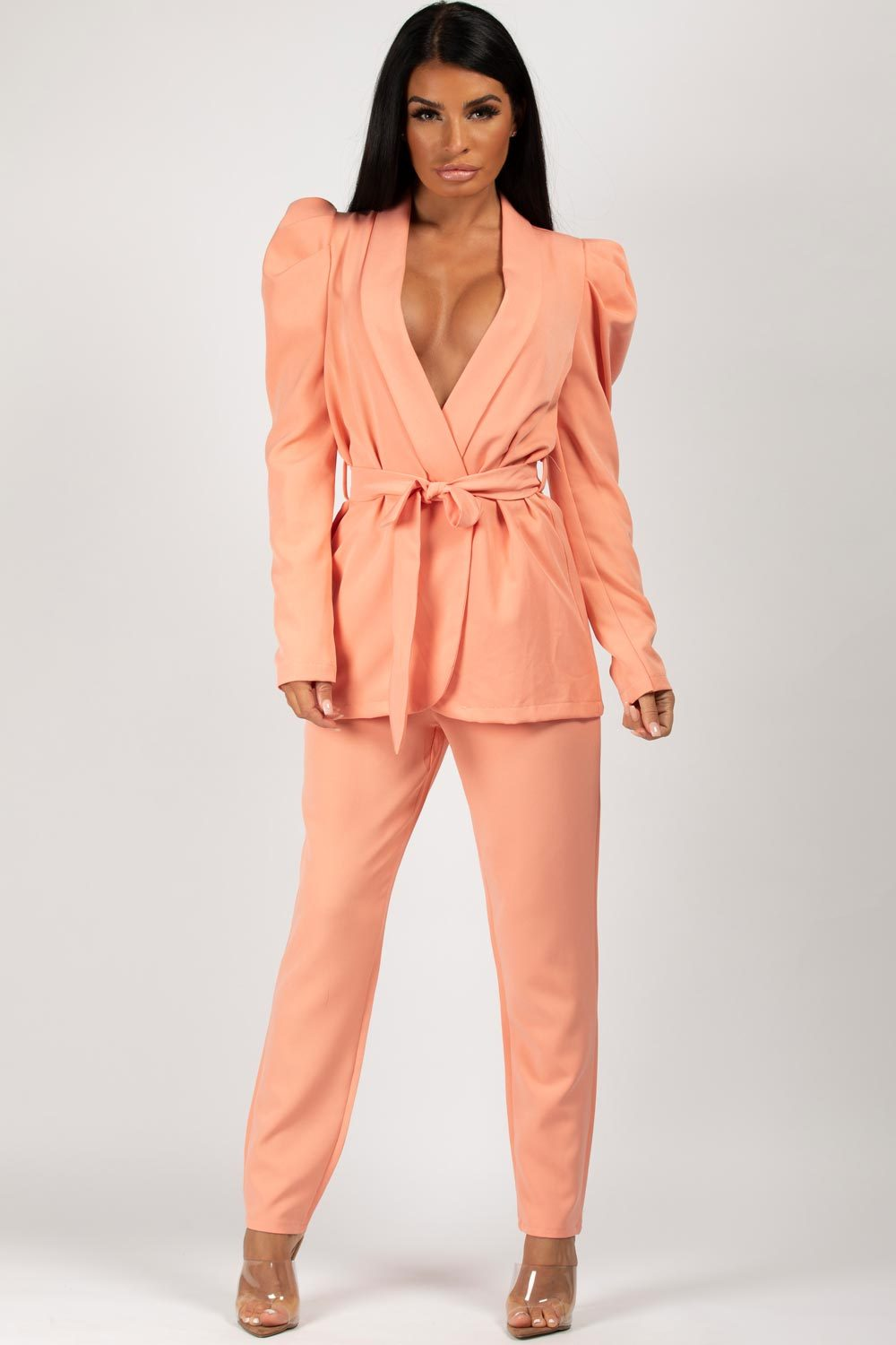 coral puff sleeve blazer trousers two piece set love island outfit