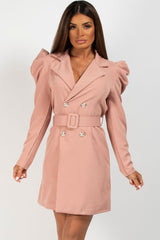 puff sleeve belted blazer dress
