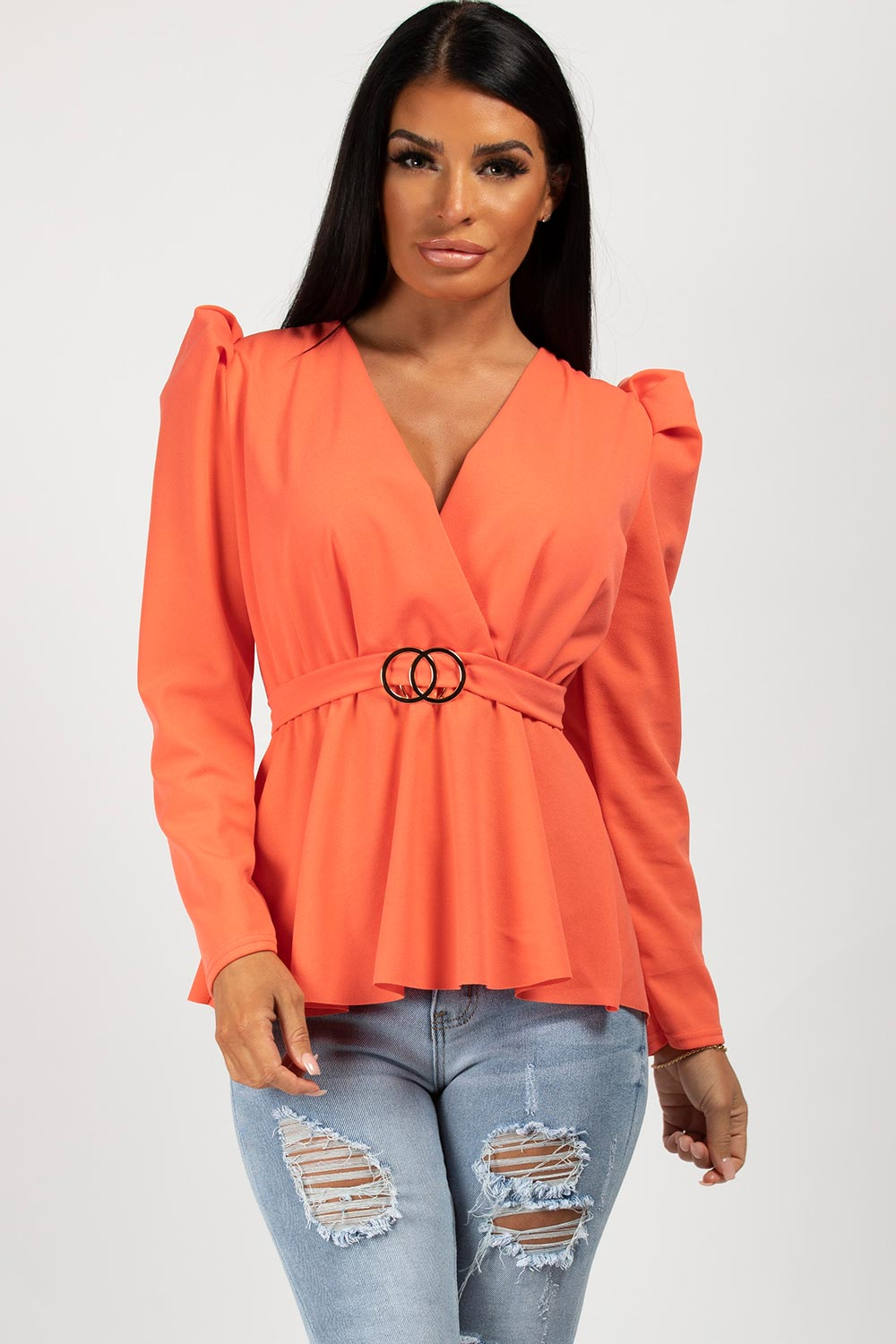 puff sleeve top coral