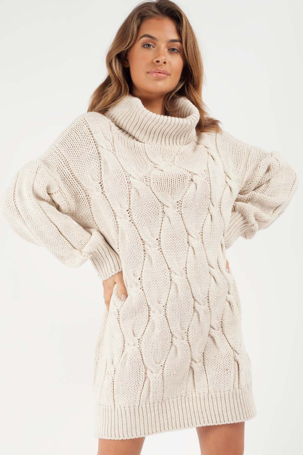 beige roll neck jumper dress