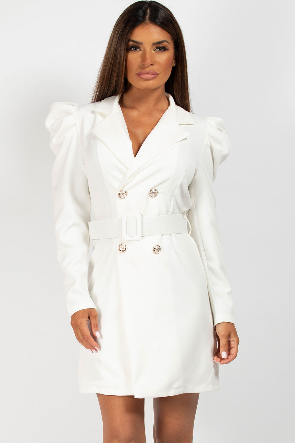 long sleeve blazer dress cream