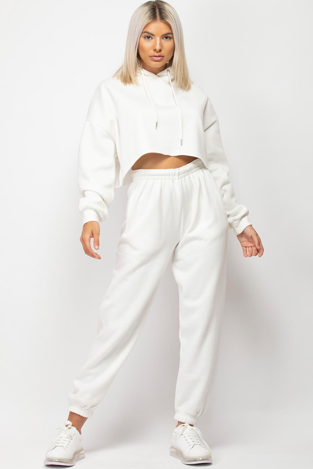 womens cream hoodie and joggers two piece set