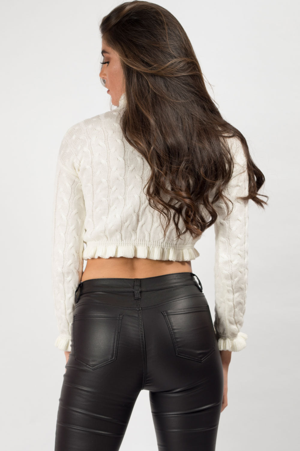 cream frill hem crop jumper