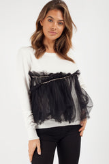 cream diamante detail jumper