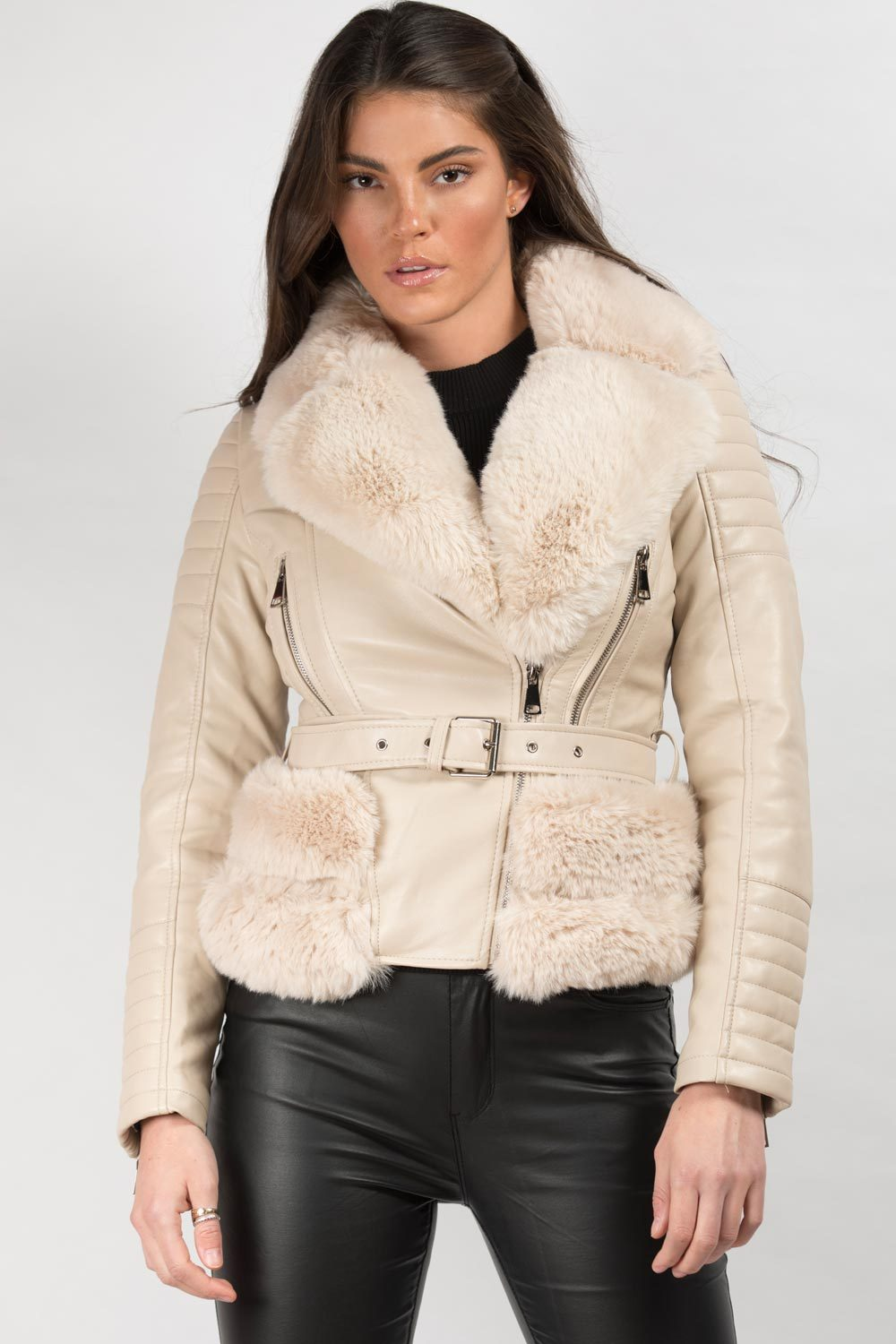 belted faux fur faux leather jacket cream