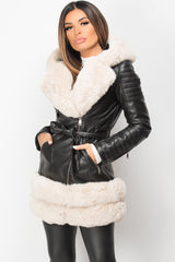 faux leather faux fur hooded belted jacket