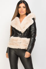 faux fur faux leather hooded belted jacket