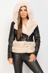 black faux leather faux fur belted hooded jacket