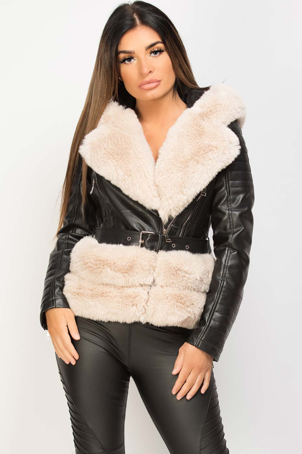 womens faux leather aviator hooded jacket