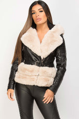 cream faux fur hooded belted faux leather jacket