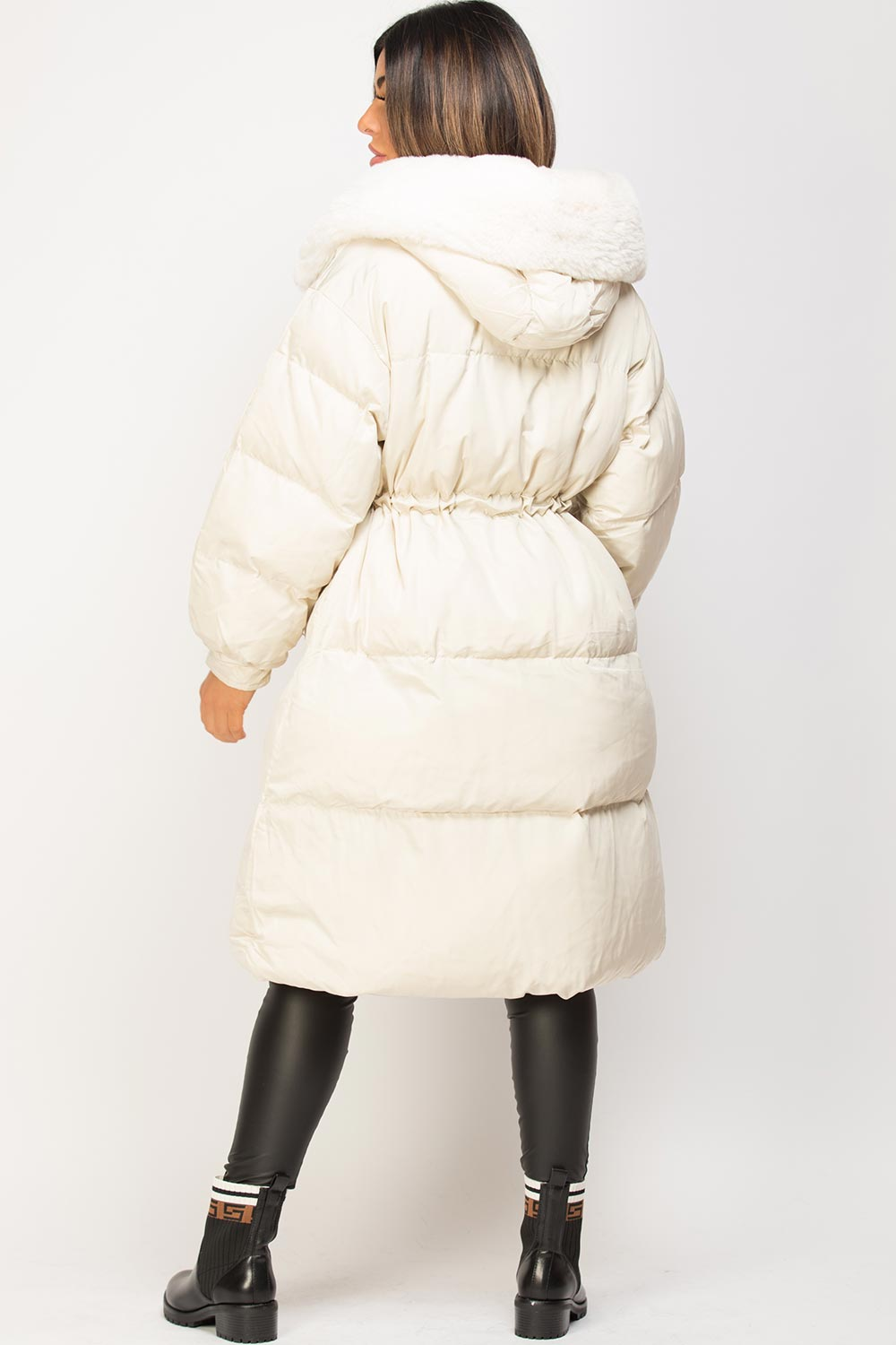 longline puffer padded coat cream