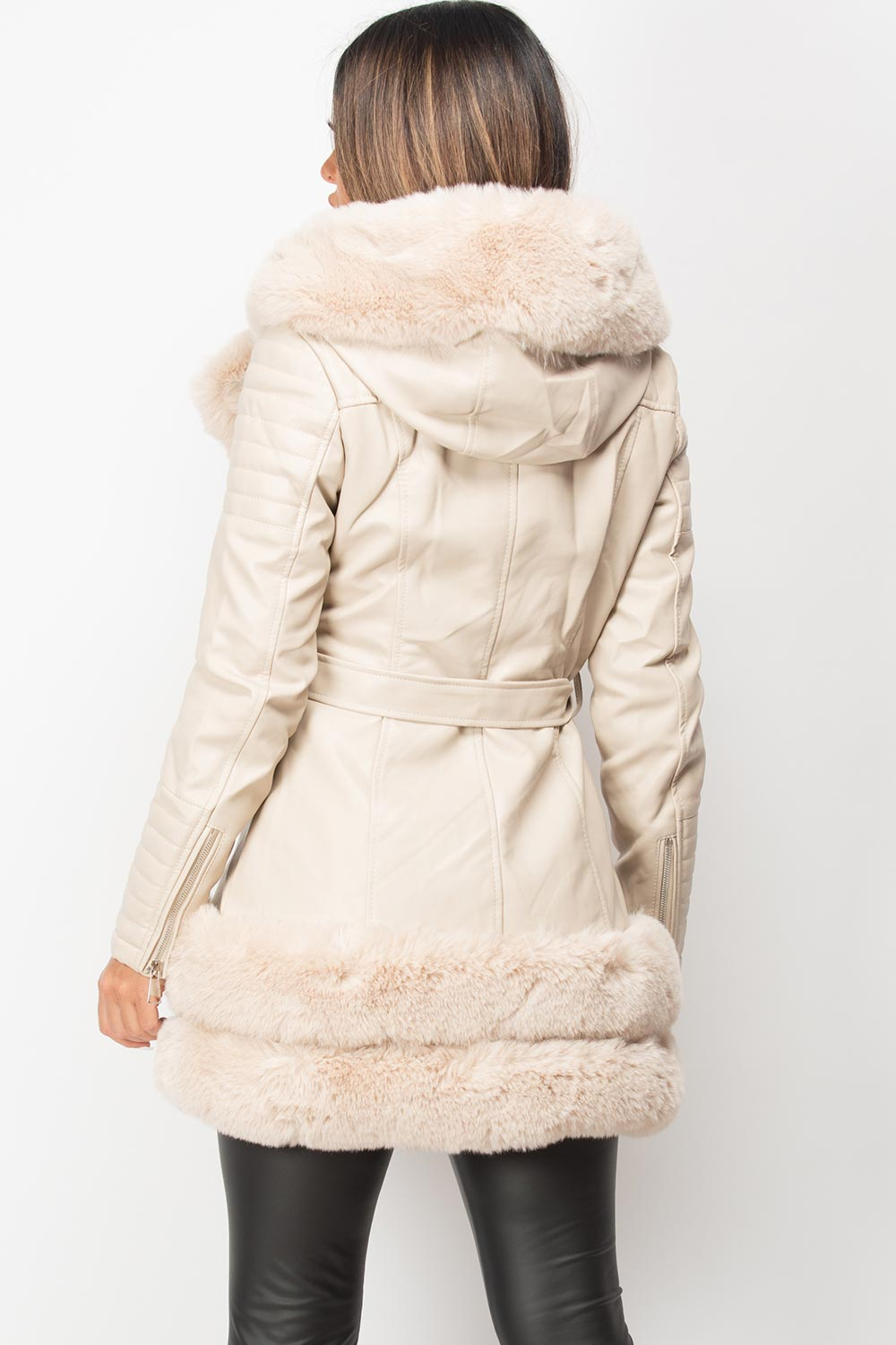 faux fur faux leather belted jacket long