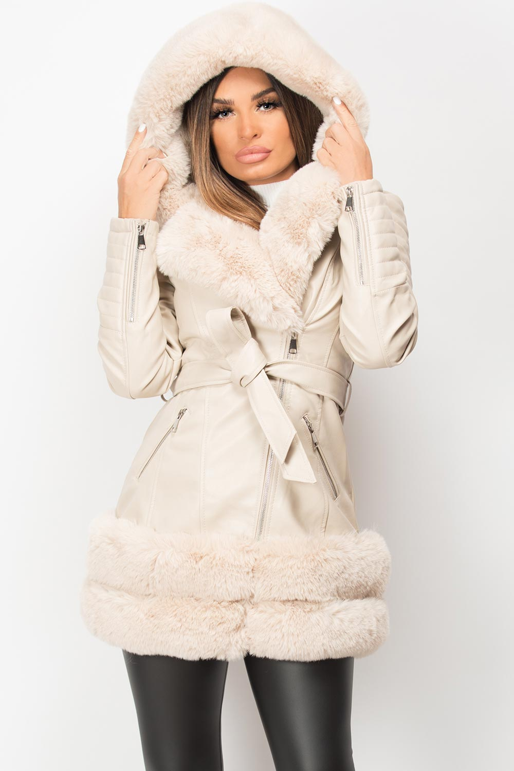 faux leather aviator jacket cream