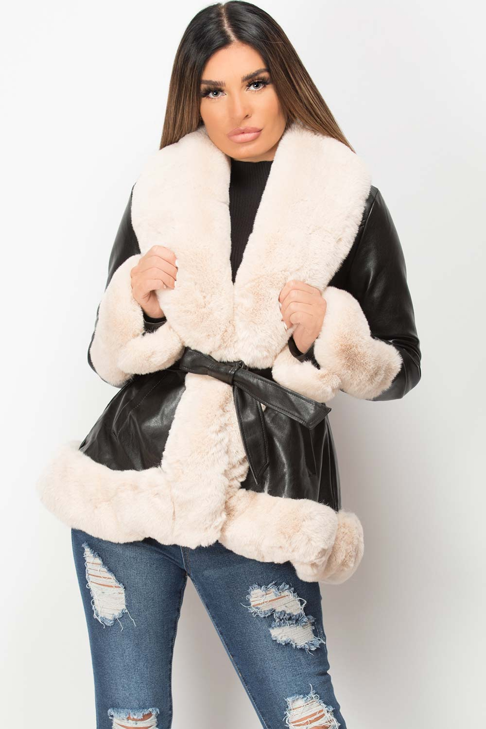 faux leather belted jacket with cream faux fur