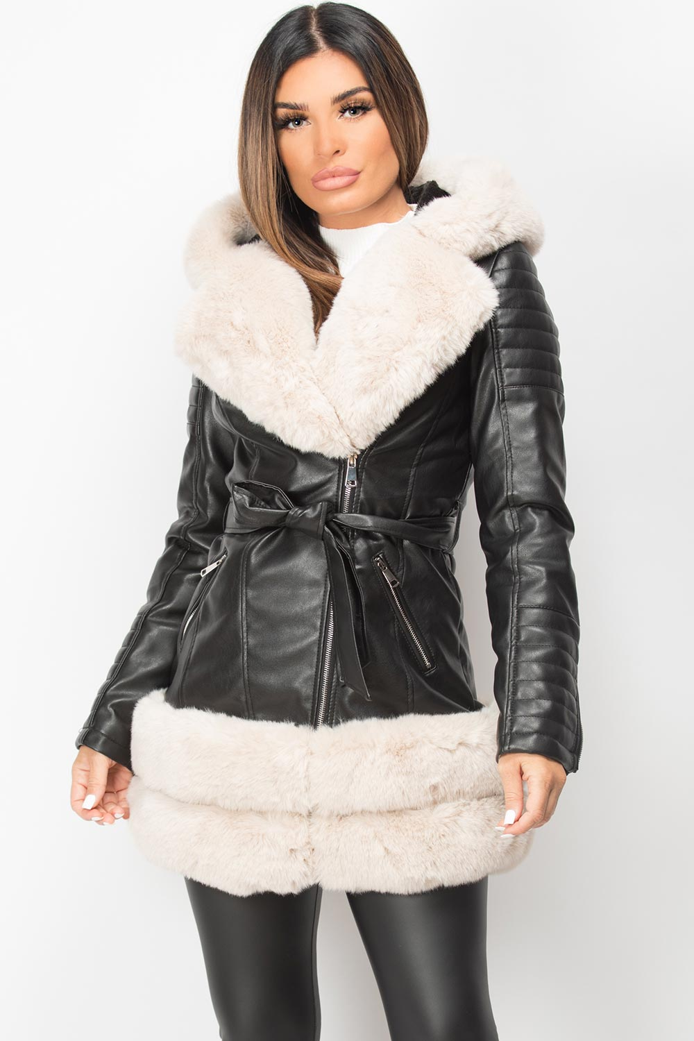 faux fur faux leather hooded belted jacket black